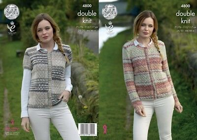 King Cole Ladies Cardigans Drifter Knitting Pattern 4800  DK (KCP-4800)