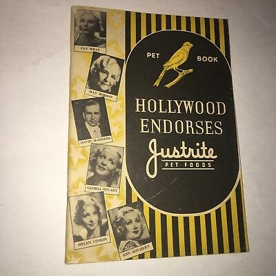 1930's Hollywood Endorses Justrite Pet Food / Canaries & Gold Fish Booklet