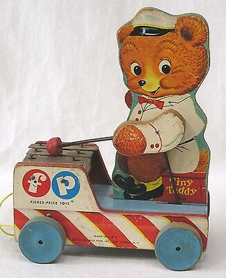 Vintage Fisher Price Wood Pull Toy Tiny Teddy #636 Xylophone 1958