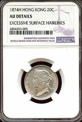 Hong Kong 1874 H  Silver 20 Cents,  Queen Victoria,  Heaton Mint!  NGC graded AU