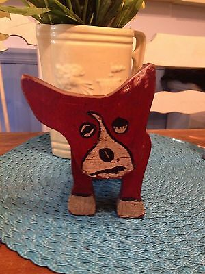 Vintage Wood Layered Dog - Red Boston Terrier
