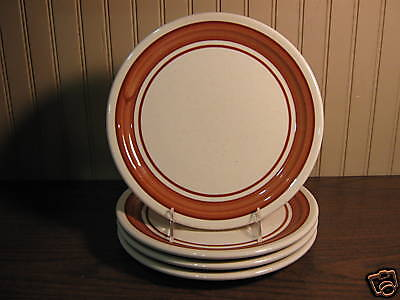 Shenango China Restaurant Ware Brown-Rust Band Dinner Plates - Four