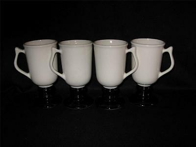 Hall China #1272 Pedestal Mugs - Four - Off White With Black Bases