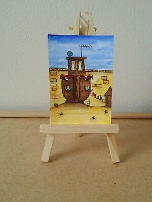 """Original Watercolour Painting ACEO """" Boat House """" by Colin Coles."""