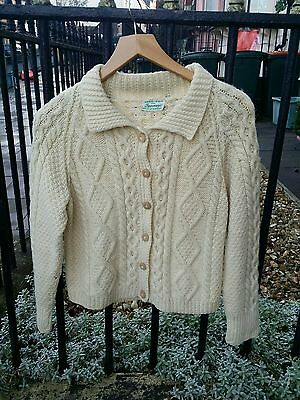 Vintage 1940's Landgirl Lindy hop Hand Knitted Chunky Cable Knit Cardigan.Small