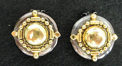 Gold Tone And Gray Gun Metal Silver Tone Color Earrings Clip On Button Type