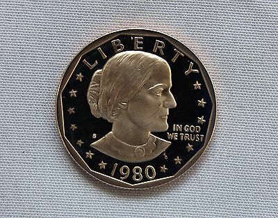 1980-S Susan B. Anthony CN-Clad Proof Dollar Cameo  Nice!!
