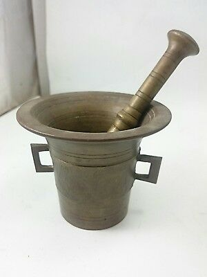 ANTIQUE BRONZE PESTLE AND MORTAR Old Style Grinding Tool Kitchen Device Bowl