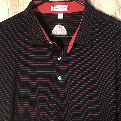 Mens Black Red Striped Peter Millar Big Logo S/s Golf Athletic Polo Shirt Large