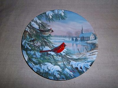 """1990 First Issue """" Cardinals In Winter """" By Sam Timm Knowles Plate - No Reserve"""