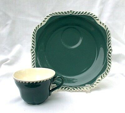 Harker Chesterton Corinthian Snack Plate & Cup Sets Green Teal Pate Sur Pate
