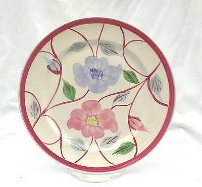 "Blue Ridge Southern Potteries Red Blue Flowers Eglantine Clinchfield 10"" Plate"