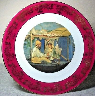 Handpainted Limoges Signed Painter Plate Accented in Gold with Cherry Red Rim