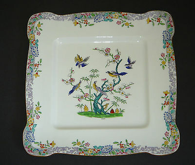"Antique MINTON'S Handpainted EMPEROR'S GARDEN Large 12"" Square Platter"