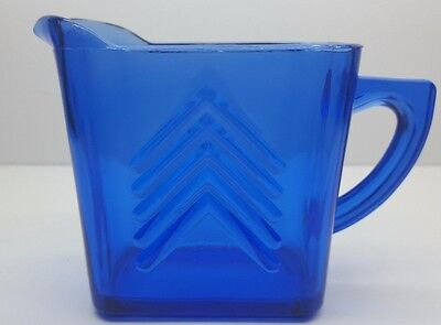 Vintage Hazel Atlas Cobalt Blue Arrow Pattern Depression Syrup Pitcher