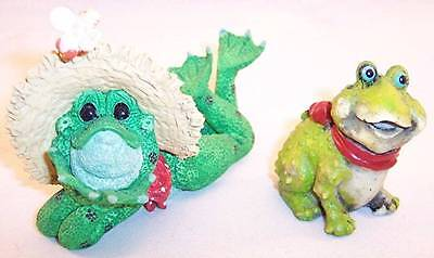 Lot of 2 Whimsical Handcrafted Resin Frog Figurines