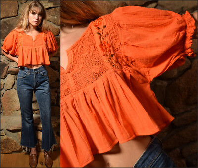 Vtg 70s tangerine dream COTTON GAUZE cropped MEXICAN peasant embroidery blouse M