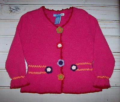Jane Seymour Dark Pink Fall Sweater with Crocheted Flowers size 3T
