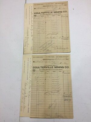 1905 Coulterville Illinois Mining Co Billheads To St Francois County RR Missouri