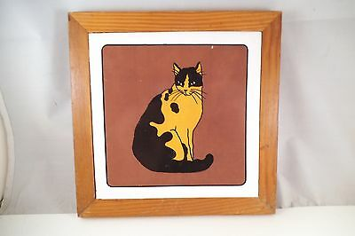 Adorable BB Black & White Cat Tile Framed Plaque
