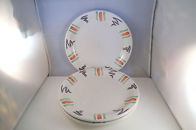 Vintage Buffalo China Restaurant Ware Set of 3 Dinner Plates Red Green Lines