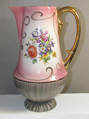 "Antique/Vintage 10 1/2"" Pitcher Pink-Floral-Gold Trim (Italy) Hand Decorated"