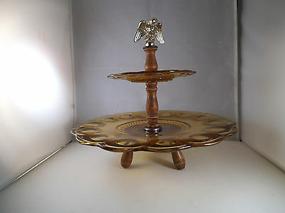 Vintage EAPG US Glass Manhattan Amber Crafted Two Tiered Serving Dish Eagle