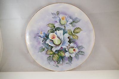 Vintage Lefton China Japan Decorative Plate White Roses