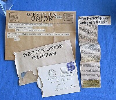 WESTERN UNION TELEGRAM 1949 Death Notice with envelope, note & clipping