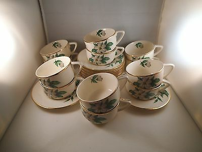 Vintage Royal China Inc Woodland Cereal Set of 12 Cups & 11 Saucers White Flower