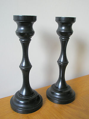 "Pair Of 2 Real Ebony Wooden Candlesticks 7"" Tall Black In Colour"