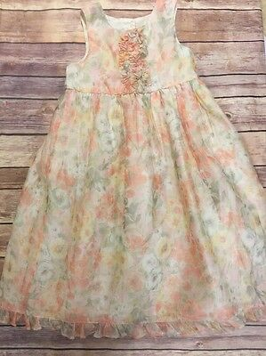 Marmellata Boutique Party Dress 4T Pink Green Floral Girls