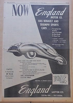 1957 full page newspaper ad for Renault, Triumph Dealer - Driving Sports Car Fun