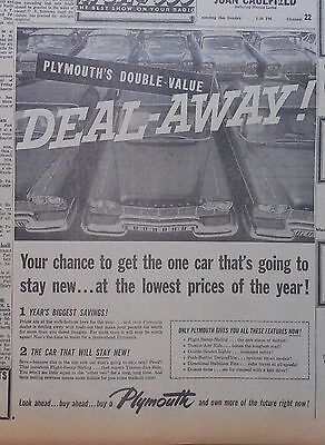 1957 newspaper ad for Plymouth - Deal Away! get one car that stays new