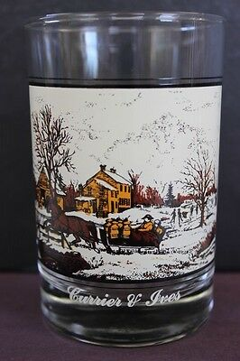 Vintage Arby's Currier & Ives Collector Glasse American Farm Winter Scene 1981
