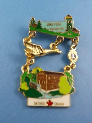 Lions Club Canada Long Point Light House Pin Pinback Button