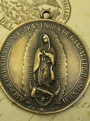 Antique Catholic Our Lady of Guadalupe Mexican Shrine Church Bronze Medal 1.5""