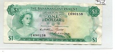 1965 Bahamas $1 Currency Note Xf 5682G