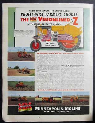Original 1952 Minneapolis Moline Visionlined Z Tractor Ad PROFIT WISE CHOOSE MM