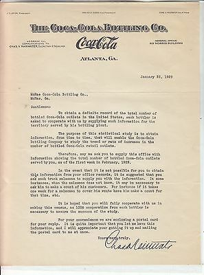 The Coca-Cola Bottling Co Letterhead Dated January 22, 1929