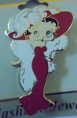BETTY BOOP Mae West Red Dress Hat White Fur Carded Pin GP Enamel NEW!