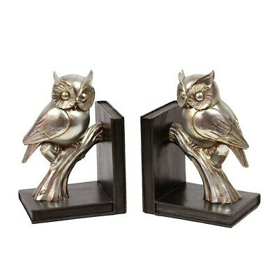 Urban Trends Resin Owl on a Branch on Base Bookend Set of 2 Coated, Gold