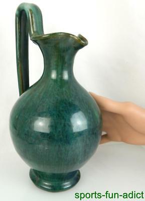 Arts & Crafts Green Glaze Pottery Handled Vintage Pitcher