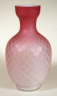 1800s Antique CASED PINK SATIN GLASS VASE Quilted Diamond Optic MT. WASHINGTON