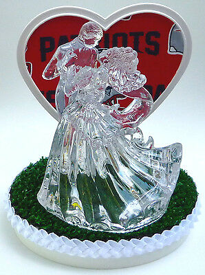 Wedding Cake Topper New England Patriots NE Themed Clear Couple Dancing w/Garter