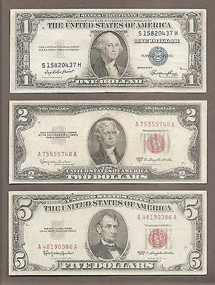 1935 + 1953 + 1963 - ( 3 ) $1 + $2 + $5 Blue & Red Seal Notes