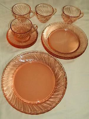 16 pc Arcoroc Pink Swirl Rosaline Plate Cup Saucer Glass Set for 4 Free Ship
