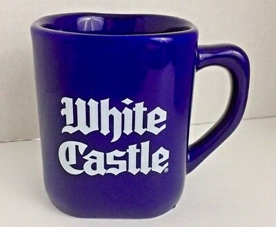 Vintage WHITE CASTLE Since 1921 Colbalt Blue Coffee Mug Cup 1995 Square