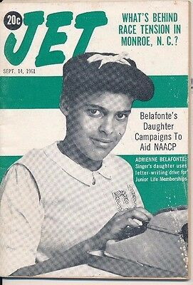 JET Magazine 9/14/1961 HARRY ADRIENNE BELAFONTE RACE TENSION MONROE NC NO LABEL