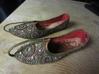 Vtg Curled Toe Genie Aladdin India Punjab gypsy beaded SHOES Kid girl 2 ? ethnic